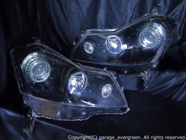 日産 Y50フーガ 250GT 前期 純正ハロゲンロービーム車用  純正ドレスアップヘッドライト 6連LEDイカリング&超高輝度白色LED12発増設&インナー/サイドマーカー フルブラッ日産 Y50フーガ 250GT 前期 純正ハロゲンロービーム車用  純正ドレスアップヘッドライト 6連LEDイカリング&超高輝度白色LED12発増設&インナー/サイドマーカー フルブラッククロムククロム