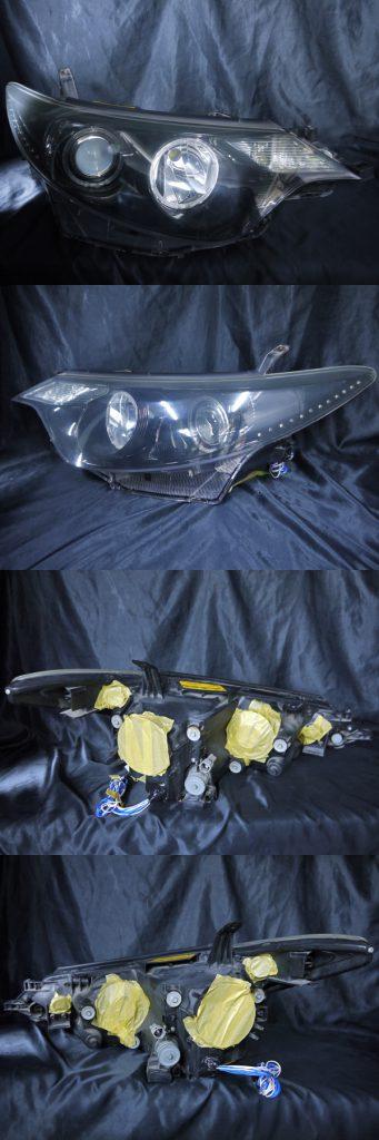 トヨタ 50エスティマ/20エスティマハイブリット 前期 純正HID車 AFS有り車用 純正ドレスアップヘッドライト 4連LEDイカリング&超高輝度白色LED18発増設&超高輝度橙色LED12発増設&インナーブラッククロム