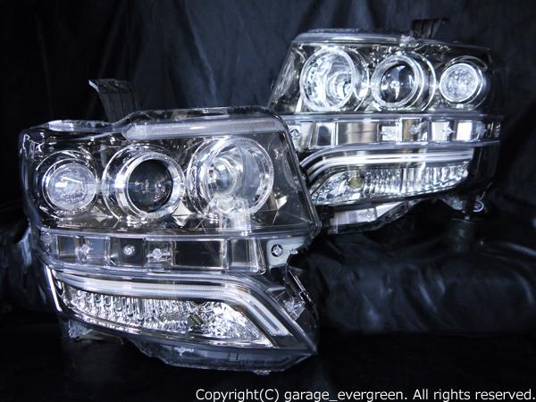 ホンダ JF1/JF2 N-BOX カスタム 純正HID車用 純正ドレスアップヘッドライト 純正青色LEDイルミライン 6連高輝度白色LEDイカリング