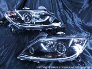 マツダ SE3P RX-8 前期 純正HID車用 純正ドレスアップヘッドライト 4連LEDイカリング&超高輝度白色LED8発増設&LEDアクリルイルミファイバー&インナーブラッククロム