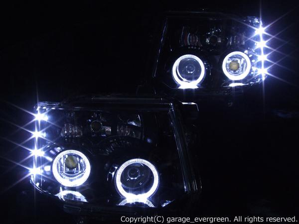 ミツビシ H82W ekスポーツ 前期/後期 純正HID車用 純正ドレスアップヘッドライト 4連LEDイカリング&超高輝度白色LED8発増設