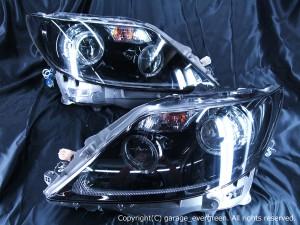 レクサス LS460 前期 純正HID車用 プリクラッシュ無し車または前方のみプリクラッシュ搭載車用 純正ドレスアップヘッドライト 4連LEDイカリング&インナー・サイドマーカーブラッククロム&高輝度白色LED24発増設&高輝度橙色LED24発増設