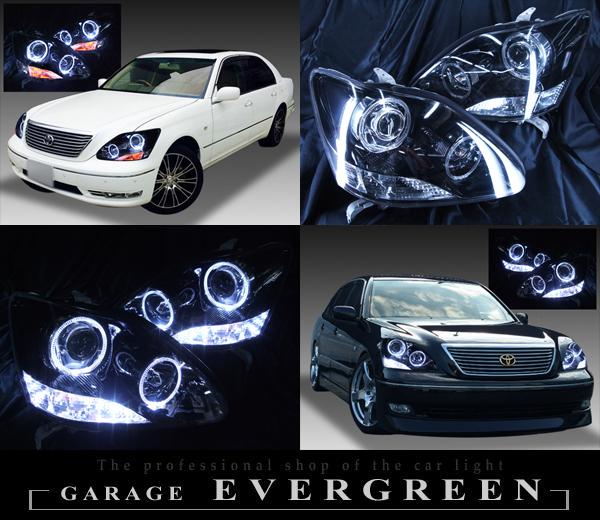 トヨタ 30系セルシオ 後期 純正ドレスアップヘッドライト 4連LEDイカリング&超高輝度白色LED16発増設&インナーブラッククロム