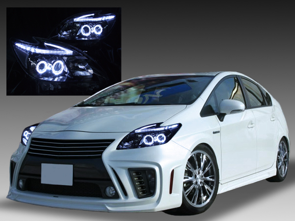 トヨタ ZVW30系 プリウス 前期/後期 全年式対応 純正ドレスアップヘッドライト 新品ヘッドライトベース 加工品 4連LEDイカリング&超高輝度白色LED12発増設&純正ポジションLED色替え加工&インナーブラッククロム