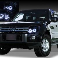ミツビシ パジェロ 純正HID車用 ショート/ロング共通 純正ドレスアップヘッドライト 4連LEDイカリング&インナーブラッククロム