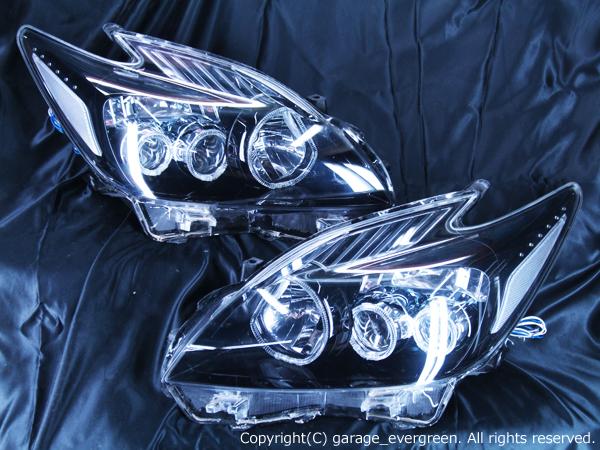 トヨタ ZVW30系 プリウス 前期 純正LEDロービーム車用 純正ドレスアップヘッドライト 6連LEDイカリング&超高輝度白色LED12発増設&インナーブラッククロム
