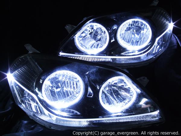トヨタ 110系マークⅡ 後期 純正HID車用 純正ドレスアップヘッドライト 4連LEDイカリング&LEDアクリルイルミファイバー&インナーブラッククロム&ウインカークリア加工