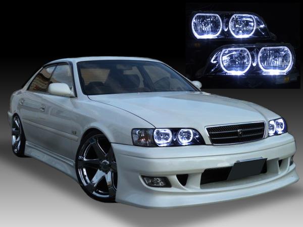 トヨタ 100系 チェイサー 純正HID車用 純正ドレスアップヘッドライト ツアラーV/S ディスチャージヘッドライト車用 4連LEDイカリング&インナーブラッククロム