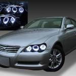 トヨタ 120系 マークX 後期 純正HID車用 純正ドレスアップヘッドライト 6連LEDイカリング&インナーブラッククロム