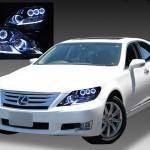LEXUS UVF45/UVF46 LS600h 中期 純正ドレスアップヘッドライト 超高輝度純白色8連LEDイカリング&純正ポジション純白色LED色替え加工&サイドマーカーブラック