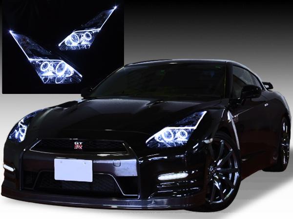 日産 NISSAN R35 GT-R 前期/中期 純正ドレスアップヘッドライト 4連LEDイカリング&LEDアクリルイルミファイバー
