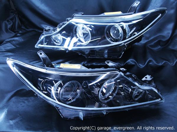 トヨタ 50系エスティマ 中期/後期 HID車用・AFS有り車用 20系エスティマハイブリット 中期/後期 純正ドレスアップヘッドライト 6連LEDイカリング&LEDアクリルイルミファイバー&インナーブラッククロム