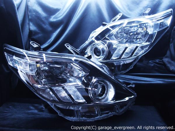 トヨタ 20W系/25W系 アルファード/アルファードハイブリッド  前期/後期共通 AFS無し車用 白色LEDイカリング&超高輝度白色LED20発増設&超高輝度橙色LED8発増設&LEDアクリルイルミファイバー&インナーブラッククロム