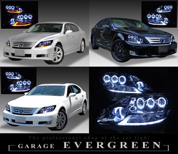 LEXUS UVF45/UVF46 LS600h 中期(プリクラッシュシステム非搭載車用 及び 前方のみプリクラッシュシステム車用) 純正ドレスアップヘッドライト 超高輝度純白色8連LEDイカリング&純正ポジション純白色LED色替え加工&サイドマーカーブラック