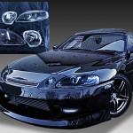 トヨタ 30系 ソアラ 全年式共通 純正ドレスアップヘッドライト 純正<後期ベース>加工品 インナーブラッククロム塗装&ウィンカークリア加工加工済み