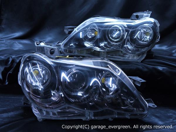 トヨタ 120系 マークX 後期 純正HID車用 AFS無し車用 純正ドレスアップヘッドライト 新品ヘッドライト加工品 6連LEDイカリング&インナーブラッククロム