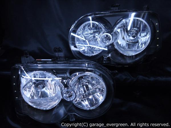 ダイハツ L150系/L160系 ムーヴ カスタム 後期 純正HID車用 レベライザー有 純正ドレスアップヘッドライト 4連LEDイカリング&高輝度白色LED増設