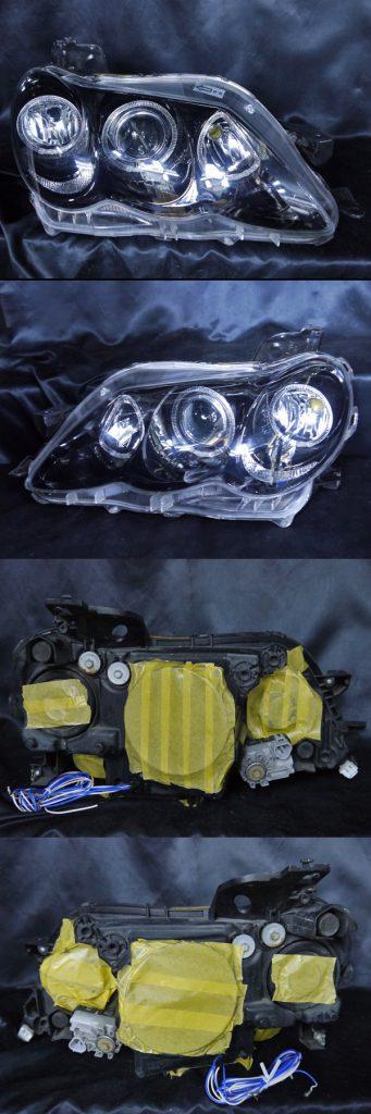 トヨタ 120系 マークX 後期 純正HID車用 AFS無し車用 純正ドレスアップヘッドライト 6連LEDイカリング&インナーブラッククロムトヨタ 120系 マークX 後期 純正HID車用 AFS無し車用 純正ドレスアップヘッドライト 6連LEDイカリング&インナーブラッククロム