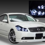 日産 Y50フーガ GT系 純正HID車用 純正ドレスアップヘッドライト 6連LEDイカリング&超高輝度白色LED12発増設&インナーブラッククロム&サイドブラック