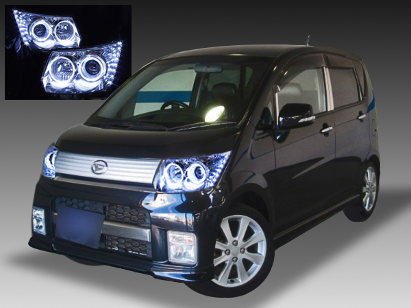 ダイハツ L175S/L185S ムーヴカスタム 後期 純正HID車用 純正ドレスアップヘッドライト 4連LEDイカリング&超高輝度白色LED16発増設