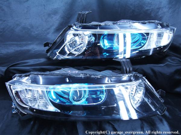 ホンダ RB1/2 オデッセイ 前期/後期 AFS無し レベリングモーター無し 純正HID車用 純正ドレスアップヘッドライト 4連白色LEDイカリング&超高輝度白色LED12発増設
