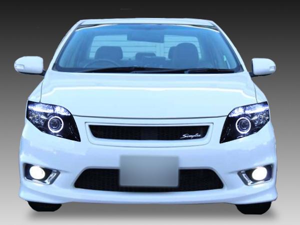 トヨタ 14系カローラ フィールダー/アクシオ 前期/後期 HID車用 純正ドレスアップヘッドライト 超高輝度白色LEDイカリング&超高輝度白色LED22発増設&インナーブラッククロム