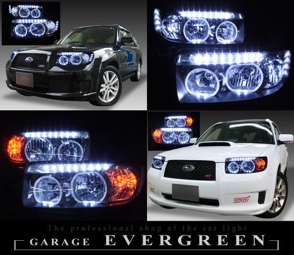 スバル SG系 フォレスター 後期 純正HID車用 純正ドレスアップヘッドライト 4連LEDイカリング&超高輝度白色LED32発増設