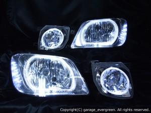 日産 C34系 ステージア 後期 純正HID(キセノン)車用 純正ドレスアップヘッドライト 4連LEDイカリング&超高輝度白色LED16発増設