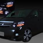 トヨタ 10系アルファード後期 AS/MS/MZ用 HID車用 純正ドレスアップヘッドライト 8連LEDイカリング&8連プロジェクター&高輝度白色LED24発増設&高輝度橙色LED16発増設&インナーブラッククロム