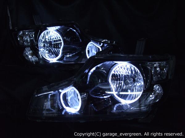 ホンダ RK ステップワゴン 前期 純正HID車用 アクティブコーナリングライト有車用 純正ドレスアップヘッドライト 4連LEDイカリング&インナーブラッククロム