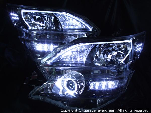 トヨタ ヴェルファイア AFS無しモデル 前期・後期共通 純正ドレスアップヘッドライト 新品ヘッドライト 加工品 超高輝度LEDイカリング&超高輝度白色LED26発増設&LEDアクリルイルミファイバー