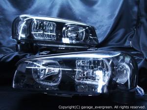 日産 R34系 スカイライン(クーペ・セダン)前期 純正HID車用  R34系 GT-R 前期 純正ドレスアップヘッドライト  4連スクエアLEDイカリング&インナーブラッククロム
