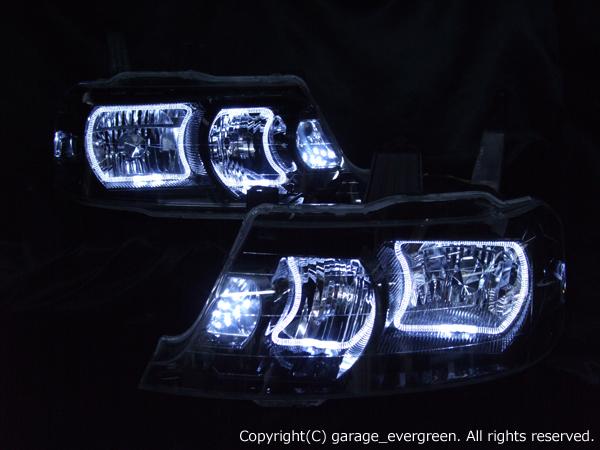 ホンダ RF3~8系 ステップワゴン 後期 純正HID車用 AFS有り車用 純正ドレスアップヘッドライト 4連LEDイカリング&高輝度白色LED10発増設&インナーブラッククロム