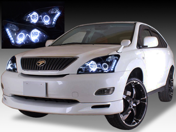 トヨタ 30系 ハリアー HID車用 AFS無し車用 純正ドレスアップヘッドライト 4連LEDイカリング&インナーブラッククロム&高輝度白色LED16発増設