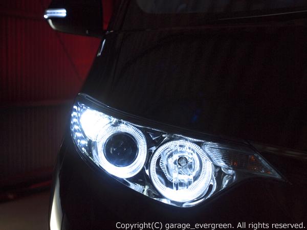 d-628-4-トヨタ 50系 エスティマ 前期 純正HID車 AFS無し車用 純正ドレスアップヘッドライト 4連LEDイカリング&超高輝度白色LED12発増設L CAMERA