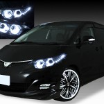 トヨタ 50系 エスティマ 前期 純正HID車 AFS無し車用 純正ドレスアップヘッドライト 4連LEDイカリング&超高輝度白色LED12発増設
