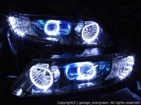 ホンダ RB1/2 オデッセイ 前期/後期 AFS有り レベリングモーター有り 純正HID車用 純正ドレスアップヘッドライト 4連LEDイカリング&超高輝度白色LED12発増設