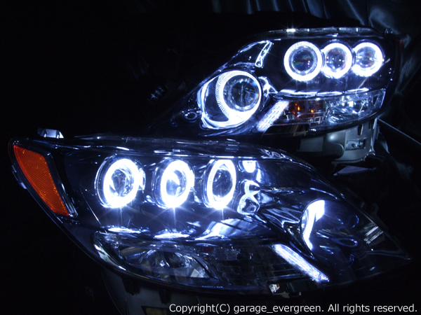 レクサス LS600h/LS600hL 前期 (プリクラッシュ無し車または前方の みプリクラッシュ有り車用) 純正ドレスアップヘッドライト 8連高輝度白色LEDイカリング