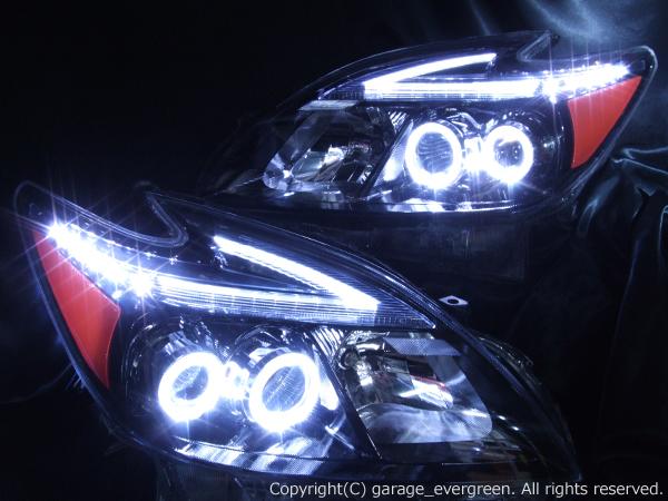 トヨタ ZVW30系 プリウス 前期/後期 全年式対応(後期 純正LEDロービーム ヘッドライト) 純正ドレスアップヘッドライト 4連LEDイカリング&USルックサイドマーカーオレンジ塗装&超高輝度白色LED12発増設&純正ポジションLED色替え加工&インナーブラッククロム