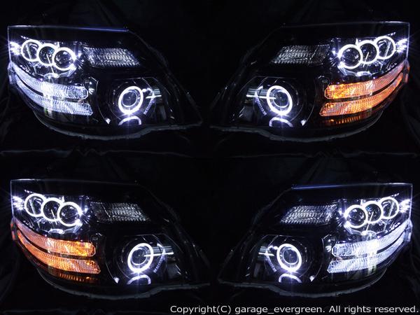 トヨタ 10系アルファード後期 AS/MS/MZ用 純正HID車用  純正ドレスアップヘッドライト 8連LEDイカリング&8連プロジェクター&高輝度白色LED24発増設&高輝度橙色LED16発増設&インナーブラッククロム