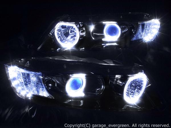 ホンダ RB1/2 オデッセイ 前期/後期  AFS無し レベリングモーター無し 純正HID車用 純正ドレスアップヘッドライト 4連白色LEDイカリング&超高輝度白色LED10発増設&インナーブラッククロム