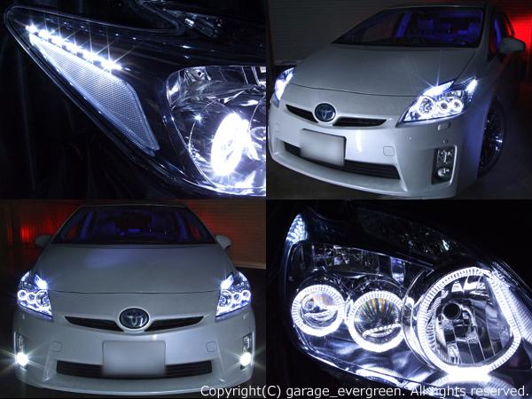 トヨタ ZVW30系 プリウス 前期 純正LEDロービーム車用 純正ドレスアップヘッドライト 6連LEDイカリング&超高輝度白色LED12発増設