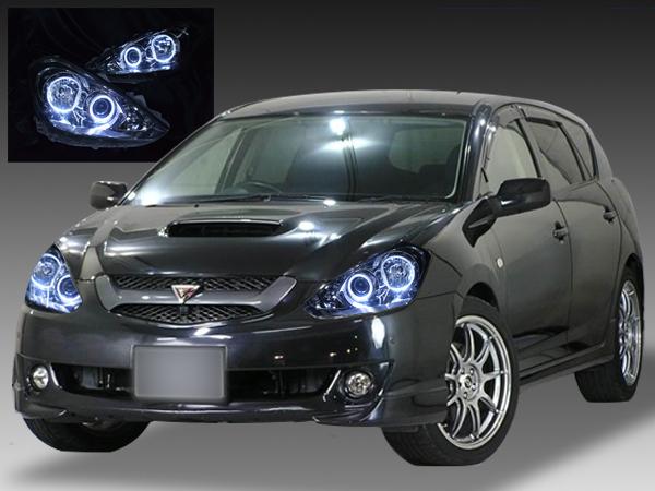 トヨタ T24系 カルディナ 後期 純正HID車用 純正ドレスアップヘッドライト 高輝度4連白色LEDイカリング&ウィンカークリア