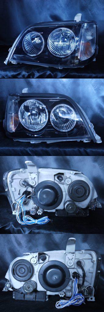 トヨタ 17系クラウン アスリート 前期・後期 17アスリート系全年式適合 純正ドレスアップヘッドライト 4連白色LEDイカリング&高輝度白色LED14発増設&インナーブラッククロム