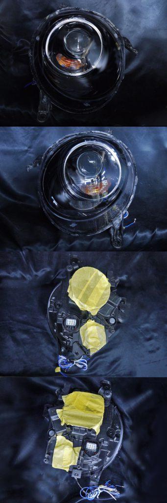 ホンダ N-ONE 純正HID車用 純正ドレスアップヘッドライト 純正ポジションLEDイカリング色替え加工&インナーブラッククロム