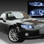 マツダ NC/EC ロードスター 前期 純正HID車用 純正ドレスアップヘッドライト 4連LEDイカリング&LEDアクリルイルミファイバー&ウインカークリア加工