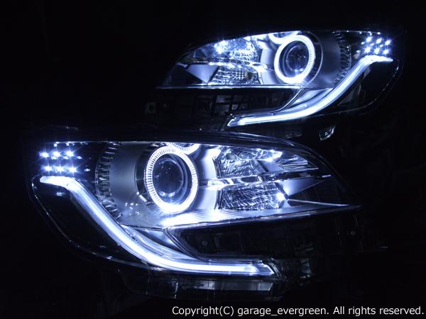 日産 B21A デイズルークス ハイウェスター LEDイカリング&超高輝度白色LED18発増設&純正ポジションLED色替え