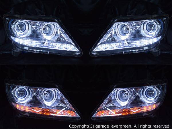 ホンダ RR1/RR2/RR5/RR6 エリシオン プレステージ 前期/後期 純正HID車用 純正ドレスアップヘッドライト 4連LEDイカリング&超高輝度白色LED18発増設&超高輝度橙色LED18発増設