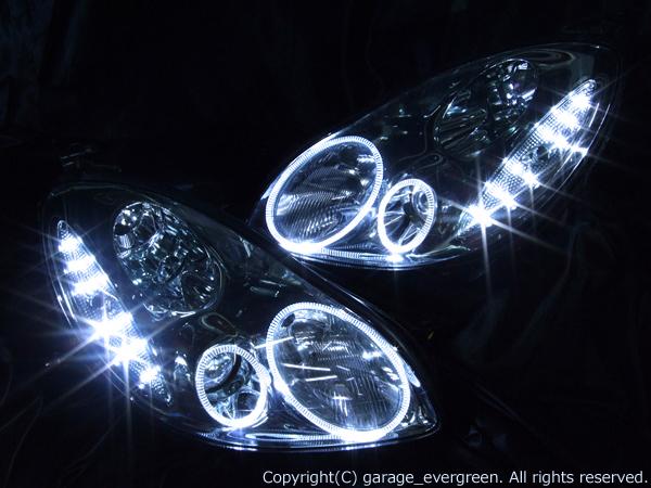 トヨタ 40系 ソアラ 純正HID車用 純正ドレスアップヘッドライト 4連LEDイカリング&超高輝度白色LED12発増設
