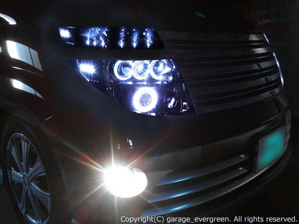 日産 E51系エルグランド 前期 純正HID車/純正ハロゲン車 純正ドレスアップヘッドライト LS600hルック3連プロジェクター&Hi/Low切換え式バイキセノンプロジェクターインストール&高輝度白色LED44発増設&インナーブラッククロム